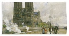 Notre Dame Cathedral - Paris Beach Towel by Childe Hassam