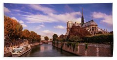Beach Towel featuring the photograph Notre Dame Cathedral And The River Seine - Paris by Barry O Carroll