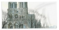 Beach Towel featuring the painting Notre Dame Cathedral In March by Dominic White