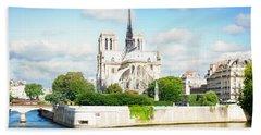 Notre Dame Cathedral, Paris France Beach Towel by Anastasy Yarmolovich