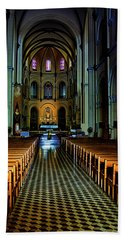 Beach Towel featuring the photograph Notre Dame Cathedral Saigon by Joseph Hollingsworth