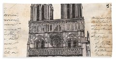 Notre Dame De Paris Beach Sheet by Debbie DeWitt