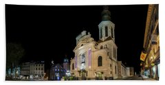 Notre-dame De Quebec Basilica-cathedral At Night Beach Sheet