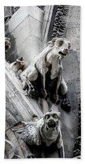 Notre Dame Gargoyles Beach Towel by Jean Haynes