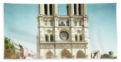 Beach Towel featuring the photograph Notre Dame by Hannes Cmarits