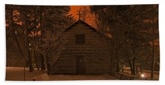 Notre Dame Log Chapel Winter Night Beach Sheet by John Stephens