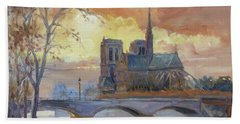 Notre Dame - Sunset, Paris Beach Towel