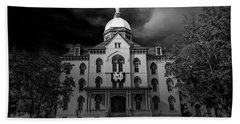 Notre Dame University Black White 3a Beach Sheet by David Haskett