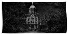 Notre Dame University Golden Dome Bw Beach Sheet by David Haskett