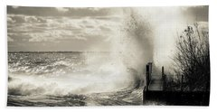 November Gales Bw Beach Towel