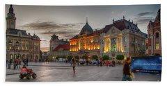 Novi Sad Liberty Square At Twilight Beach Sheet by Jivko Nakev