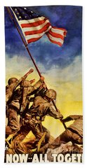 Now All Together Vintage War Poster Restored Beach Towel
