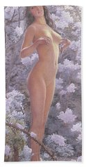 Nude Amongst Flowers Beach Towel