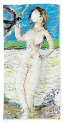 Nude With Bird Beach Towel