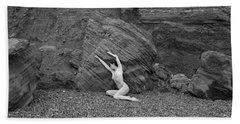Nude Woman Pulling Shape By Rocks Beach Towel