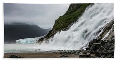 Beach Towel featuring the photograph Nugget Falls And The Mendenhall by Ed Clark