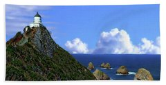 Nugget Point Lighthouse Beach Sheet by Anthony Dezenzio