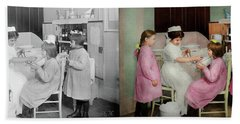 Beach Towel featuring the photograph Nurse - Playing Nurse 1918 - Side By Side by Mike Savad