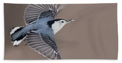 Beach Towel featuring the photograph Nuthatch In Flight by Mircea Costina Photography