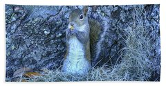 Beach Towel featuring the photograph Nuts Anyone by Deborah Benoit