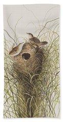 Nuttall's Lesser-marsh Wren  Beach Towel by John James Audubon