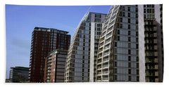 Nv Buildings Modern Apartment Blocks By Huron Basin Salford Quays Greater Manchester England Beach Towel