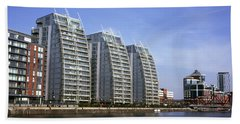 Nv Buildings Modern Apartment Blocks  Huron Basin Salford Quays Greater Manchester England Beach Towel