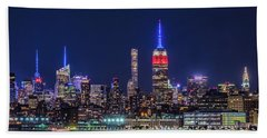 Nyc At The Blue Hour Beach Sheet
