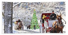 Festive Winter Carriage Rides Beach Sheet by Sandi OReilly