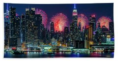 Beach Towel featuring the photograph Nyc Fireworks Celebration by Susan Candelario