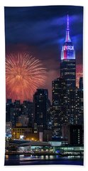 Beach Towel featuring the photograph Nyc Fourth Of July Fireworks  by Susan Candelario