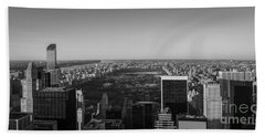 Nyc From Above Bw Beach Towel