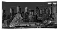 Beach Towel featuring the photograph Nyc Golden Empire Bw by Susan Candelario