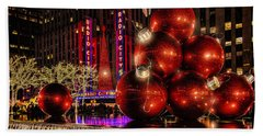 Beach Towel featuring the photograph Nyc Holiday Balls by Chris Lord