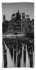 Beach Towel featuring the photograph Nyc Skyline Bw by Laura Fasulo