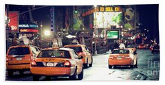 New York City Night Drive Beach Sheet