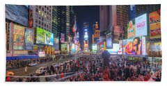 Nyc Times Square Panorama Beach Sheet