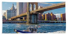 Nypd On East River Beach Towel by Nick Zelinsky