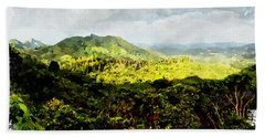 Beach Sheet featuring the digital art Oahu Landscape by Kai Saarto