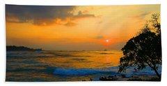 Beach Towel featuring the photograph Oahu Sunset Hawaii by Michael Rucker