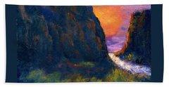 Beach Towel featuring the painting Oak Creek Canyon by Gail Kirtz