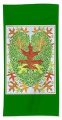 Beach Sheet featuring the digital art Oak Leaf In A Heart by Lise Winne