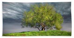 Oak Tree With Tire Swing Beach Towel