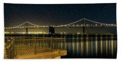 Oakland Bay Bridge By The Pier In San Francisco At Night Beach Towel