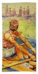 Beach Towel featuring the painting Oarsman by Cynthia Powell