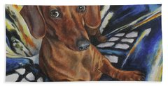 Dachshund Time Lord Beach Sheet by Kim Lockman