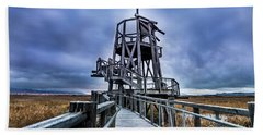Observation Tower - Great Salt Lake Shorelands Preserve Beach Towel by Gary Whitton