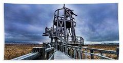 Observation Tower - Great Salt Lake Shorelands Preserve Beach Sheet by Gary Whitton