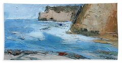 Beach Towel featuring the painting Ocean Cliffs by Gary Coleman