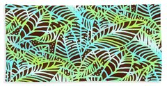 Beach Towel featuring the digital art Ocean Leaves Key West by Karen Dyson